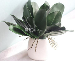 Discount orchids flowers wholesale New PU Artificial Green butterfly orchid Leaf Plastic Flower Leaf Home Wedding Party Decoration