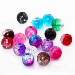 $enCountryForm.capitalKeyWord NZ - 8mm Two-Tone Color Round Crackle Glass Beads Loose Spacer Beads For Jewelry Making DIY Bracelet&Necklace
