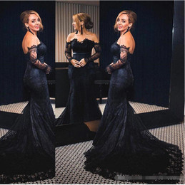$enCountryForm.capitalKeyWord NZ - Sexy Black Off Shoulder 2018 Mermaid Prom Dresses Sweep Train Long Sleeves Lace Applique Backless Long Formal Evening Party Gowns Custom