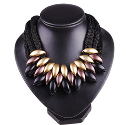 silver gold alloy NZ - New Arrival Wholesale CCB Chokers Punk Statement Necklace Rope Alloy Chain Bohemian Sweater Dresses Gold Silver Big Necklaces for Women