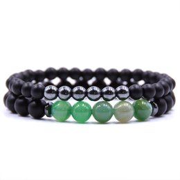 Discount best energy bracelets - Micro Pave Matte Stretch Bracelet Gift Natural Black Lava Rock Energy Man Beaded Bracelet Men's & Women's Best Friend