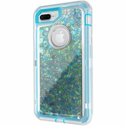 liquid gold blue UK - Wholesale Liquid sand sparkling for iphone 6s case hybrid 3in1 robot case tpu+pc full protective defender case