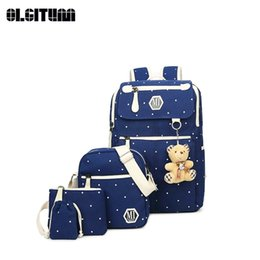 Wholesale Preppy Style BackpacHigh Quality Canvas School Bags Cute Bear Composite Bag Set Backpack For Teenage Girls SC246