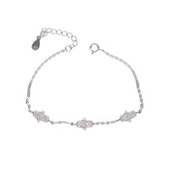 Three circle silver braceleT online shopping - 100 sterling silver factory design three cz hamsa hand charm delicate girl women jewelry sparling hamsa hand bracelet
