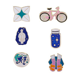 bicycle pins 2019 - 2018 Enamel Brooch Pins women Boutonniere Long-haired beauty bicycle Wishing bottle Socks Cartoon Brooches badge For Men