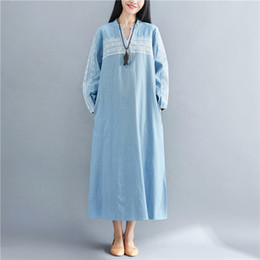 4ddc08b778b 2018 Autumn Spring Casual Dresses for women Embroidery Long sleeve V neck women  dress Blue color