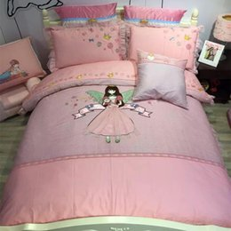 Discount adult princess bedding - Luxury 100% Cotton Lovely little princess Lace Bedding Set Embroidery Ruffles Duvet cover Bed Sheet Pillowcases Twin Que