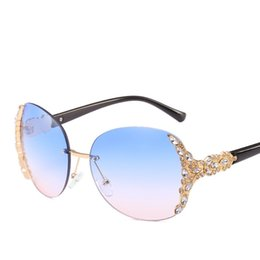 b8d4c6ede4b8 DiamonD frames wholesale online shopping - Fashion Women Diamond Insert Big Frame  Glasses Gradually Changing Color