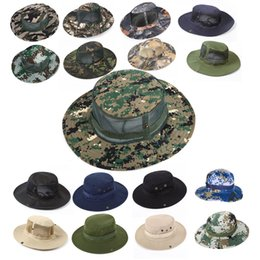 Plain mesh hats online shopping - 32 Styles Summer Outdoor Military Camo Fishing Mesh Hat Hunting Bucket Hats With Adjustable Strap Beach Cap Free DHL G667F