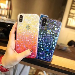 Chinese  Three-dimensional Diamond Flower Gradient Laser Colorful Phone Case High Quality TPU Soft Case For iPhone X iPhone 8 Retail Package manufacturers