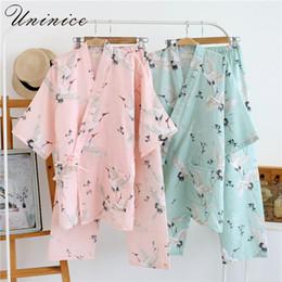 2513d70c94 Women s Yukata Japanese Kimono Robes Pajamas Sets Cotton Dress Shorts Pants  Nightgown Sleepwear Bathrobe Leisure Wear Homewear