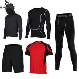 basketball jogging suits 2019 - Men's Compression Sport Suits 5pcs set Fitness Running Sets Basketball Tracksuit Clothes Quick Dry Gym Jogging Work