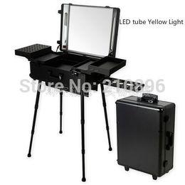 $enCountryForm.capitalKeyWord NZ - BLACK Professional Aluminum trolley Cosmetic case with Legs LED Lighted cosmetic Box