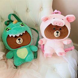 Brown Bear Backpack Australia - 1pc plush dinosaur dressing Brown bear backpack cartoon Korea animal totor & pink Pig birthday gift toys for children kids