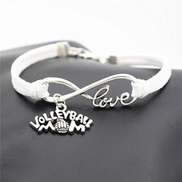 $enCountryForm.capitalKeyWord Australia - Infinity Love Volleyball Mom Game Team Sport Pendant Accessories Jewelry Creative White Leather Rope Bracelet For Women Men Unisex Good Gift
