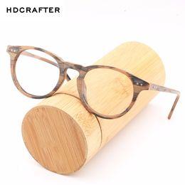 3e5245d553 HDCRAFTE Marco de Vidrios Miopes de Madera Hombres Mujeres Lente  Transparente Lectura de Gafas Redondas Espejo Óptico Gafas de Anteojos de  Madera Retro