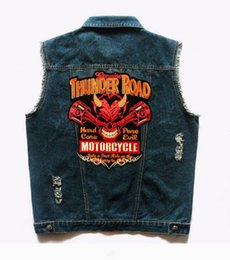 devil patches UK - Mens Motorcycle Vests Badges Rivet Devil Embroidered Waistcoat Punk Knight Patch Biker Club Men's Denim Vest Distressed