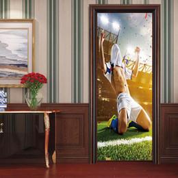 Glasses 3d player online shopping - DIY set Creative Soccer Door Wall Sticker Football Player Wallpaper PVC Poster Decal Sports Decoration Mural Boys Kids Room Home Decor