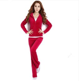 velvet hoodie tracksuit women Canada - New Velvet Tracksuits 2 Piece Set Women Suit Long Sleeve Solid Color Hoodie + Elastic Waist Pant Slim Sporting Suits Hot Sale S79001