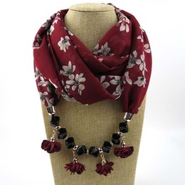 knitted flower scarf UK - Lady scarf pendants heart jewelry Necklace Pendeloque Cut Scarf Ma'am Chiffon Solid Color Ornament Long pendant scarf Factory Cost Wholesale