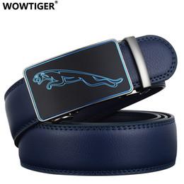 Men S Leather Slides Canada - TIGER New Fashion Designer 3.5cm Belts for Men Sliding Buckle Ratchet Luxury Leather Men`s male Belt ceinture homme