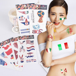 Wholesale New Tattoo Supplies Football World Cup National Flag Waterproof Temporary Tattoos Children Adult Face Body Art Tattoo Sticker