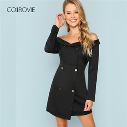 ca35a4bb61 COLROVIE Black Off The Shoulder Office Lady Bodycon Dress Autumn Double  Breasted Collared Bardot Sexy Dress Women Dresses