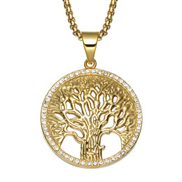 Tree Life Pendant Gold UK - Christian Life Tree Pendant Necklace Stainless Steel Inlaid Crystal Hollow Pendant 60cm Chain Male and Female Jewelry