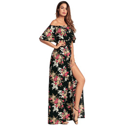 2018 Amazon spring summer new printed sexy strapless long skirt European  dress 33b4c0d34aea