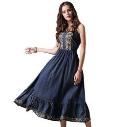 c8bcca69a7 long ankle length denim dresses 2019 - 2018 Casual Women Summer Long Dresses  Vestidos Embroidery Vintage