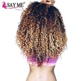 Discount three tone ombre human hair weave - SAY ME Deep Wave Bundles Ombre Brazilian Human Hair Weave Bundles 1B 4 27 NonRemy Three Tone Honey Blonde Human Hair Ext