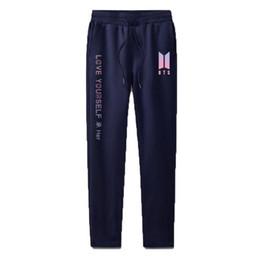 86e44ee47ce2a Pantalon Femmes KPOP BTS Love Yourself 100% algodón Ropa deportiva  Pantalones Casual Street Wear Harajuku Hip Hop Pantalones deportivos Mujeres