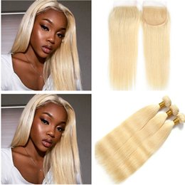 Silky Brazilian Human Hair Extensions Australia - Silky Straight #613 Blonde Virgin Hair Extensions with 4x4 Lace Closure Bleach Blonde Brazilian Human Hair Weaves 3 Bundles with Top Closure