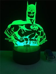 Novelty Batman 3D Night Light Colorful Gradien Visual LED Superhero Table  Lamp Bedroom Decor Baby Sleep Lighting Birthday Gifts Batman Lamps Outlet