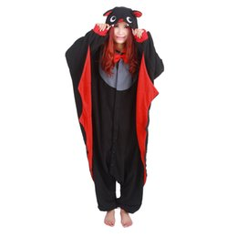 Woman Winter Costumes Pajamas UK - Black Bat Unisex Hoodie Pajamas For Women Adult Winter Autumn Pyjama Cosplay Animal Overall Home Sleepwear Anime Pija