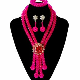 african costumes UK - Hot Products Pink Womens African Crystal Jewelry Necklace Nigerian Wedding Beads African Wedding Bridal Costume Jewelry Set Free Shipping