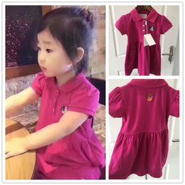 dress embroidery cat NZ - High Quality Children Summer Polo Short Sleeve Solid Dress Pure Cotton Turn-down Collar Roseo Cat Embroidery Fashion Girl Dress