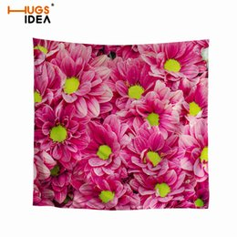 Discount lady head flowers - HUGSIDEA Square Pink Handkerchief 3D Flower Floral Printing Silk Bandanas Decoration Girls Head Wrap Neck Scarf Ladies H