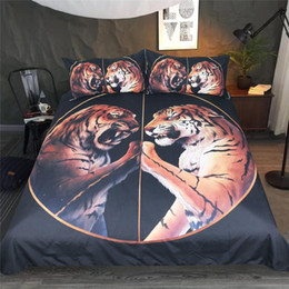 $enCountryForm.capitalKeyWord Australia - Peace Black Bedding Set Two Tigers Duvet Cover With Pillowcase Tiger Bed Set 3-Piece Animal Printed Bedclothes