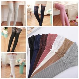 fe85d95cb93 7 Colors 2pcs pair Women Girl Over Knee Leg Warmer Soft Cotton Lace Socks  Leggings Women Transparent Tights Stockings CCA10382 30pairs