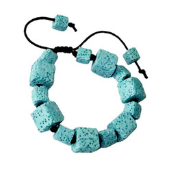 colored charms 2019 - Natural Stone Jewelry Colored Volcano Bead Lava Stone Bracelet for Women Simple Charm Bracelet Bangle Rope Chain Adjusta