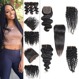 Wholesale Brazilian Virgin Hair Bundles With Lace Closure Frontal Deep Body Water Wave Kinky Straight Hair Human Hair Weave Extensions