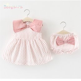 Diaper Bloomer Set NZ - Summer Baby Girls Infants Sleeveless Print Heart Dress+BOW PP Shorts Bloomers Diaper Cover Pant 2pcs Princess Clothing Set S6667