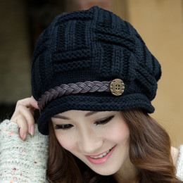Korean Hats For Women Australia - NEW Korean Version Faux Wool Twist Design Beanie Winter Hats for Women Knitted Warm Skull Cap Skullies & Beanies for Ladies
