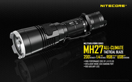 Discount rgb flashlights torches - NITECORE MH27 USB Rechargeable Flashlight CREE XP-L HI V3 1000 Lm RGB High Bright Torch Without 18650 Battery