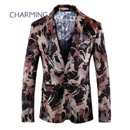 plus gowns jackets UK - Modern mens suits, gentleman suit jacket, high quality digital printed fabric, suitable for singer performance, fashion party ball gown
