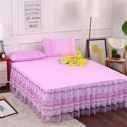 Wholesale Pink White Blue Polyester Girls Bed skirts set King Queen Full Twin size Bed sheet set Pillowcases sw