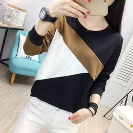 Plus Size Tee Australia - Fashion 2018 Autumn Women Casual T-Shirt Plus Size O-Neck Long Sleeve Tee Shirt Femme Simple Loose Patchwork Tees