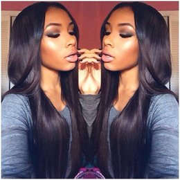 Brown Straight Wig Part Australia - Hot Sale Middle Part Long Black Silky Straight Synthetic Lace Front Wig Heat Resistant Japanese Fiber Hair Wigs For Black Women No Tangle