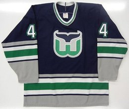 Hartford Whalers Blue Jersey UK - KEVIN DINEEN 44 CHRIS PRONGER HARTFORD  WHALERS Hockey Jersey Embroidery 60abcf4b9a2